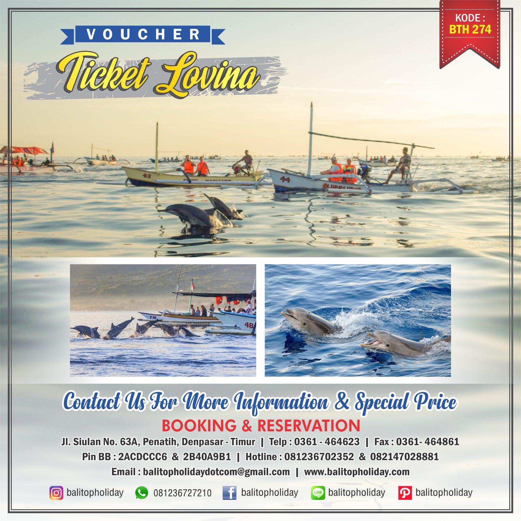 """Lovina merupakan objek wisata yang ada di Bali Utara, tepatnya di kabupaten Buleleng. Daerah ini terkenal dengan pantainya, dan juga aktifitas melihat lumba-lumba di pagi hari. Mungkin di Bali, hanya di Lovina lah kita bisa melihat atraksi dolphin di lepas pantai. Jadi ini memang alami bukan 'buatan' seperti di dalam ruangan. Biaya Melihat Lumba-Lumba di Lovina BaliSave Melihat Lumba-Lumba di Lovina Bali Lumba-Lumba Lovina Bali Lumba-Lumba Lovina Bali Foto Melihat Dolphin atau Lumba-lumba di Lovina, Bali Biaya melihat lumba-lumba di Lovina adalah harga yang dikenakan per-ORANG untuk melihat dolphin atau lumba-lumba di lepas pantai Lovina dengan menggunakan kapal tradisional atau orang Bali bilang Jukung. Nah dengan jukung yang akan dikemudikan 1 orang, kita ke tengah laut di pagi-pagi buta sekitar jam 6. Terus selesai melihat lumba-lumba sekitar jam 8. Jadi bagi yang menginap di Bali Selatan terutama Kuta dan sekitarnya, disarankan jam 2 atau 3 pagi sudah meluncur ke lokasi. perjalanan diperkirakan menempuh waktu sekitar 3 jam. Bagi yang tidak ingin melewatkan aktifitas snorkeling di Lovina setelah melihat dolphin, kami juga menyediakan harga paket lihat Lumba-lumba + snorkeling yang tentunya harga masih sangat terjangkau. Dibanding snorkeling di Tanjung Benoa, aktifitas """"menyelam permukaan"""" di Lovina ini waktunya tidak dibatasi. Jadi bisa nyemplung + berenang sepuasnya. Oya, harganya sudah termasuk peralatan snorkeling ya seperti fin, snorkel, kacamata google, pelampung.."""