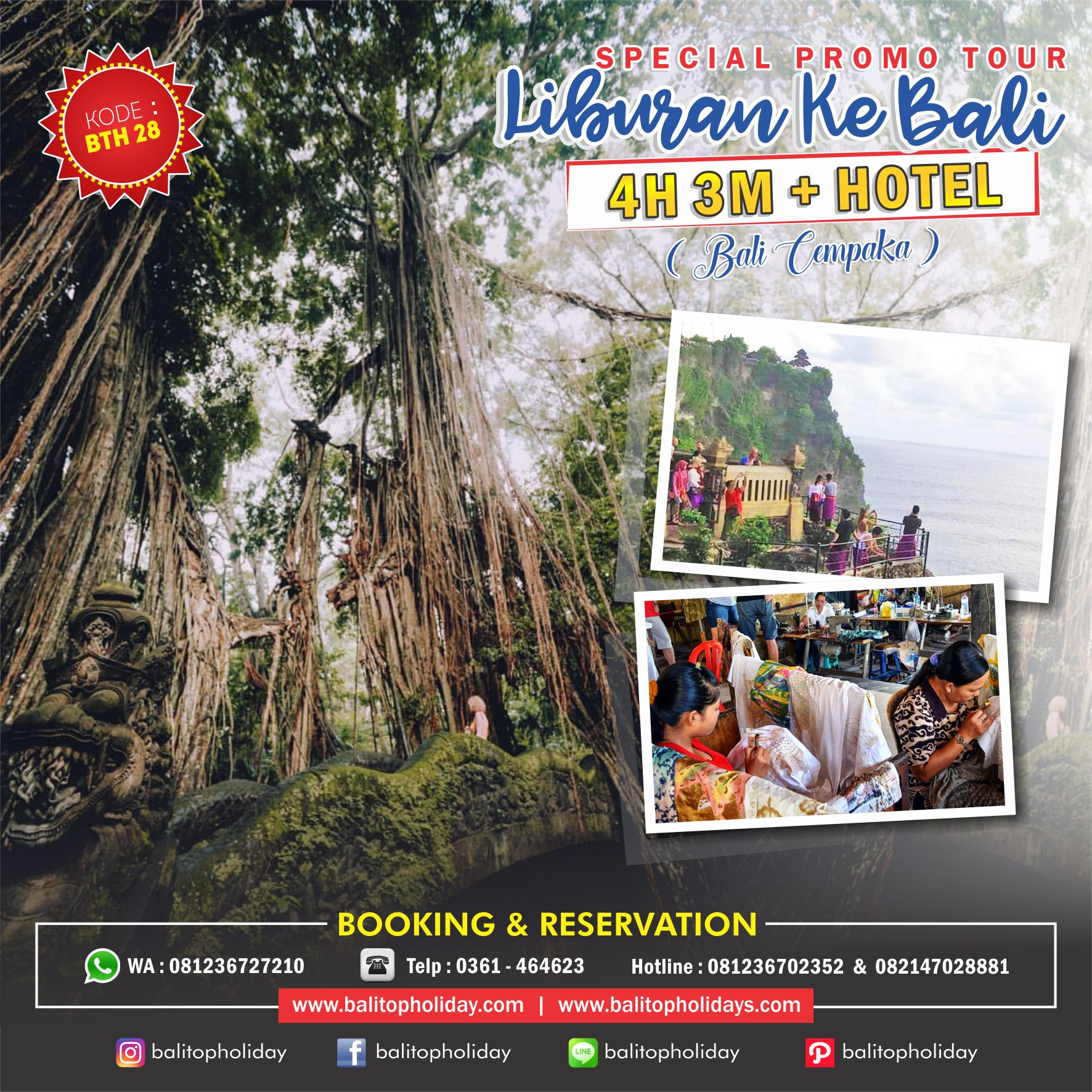 PAKET TOUR 4H 3M BTH 28 Bali Cempaka