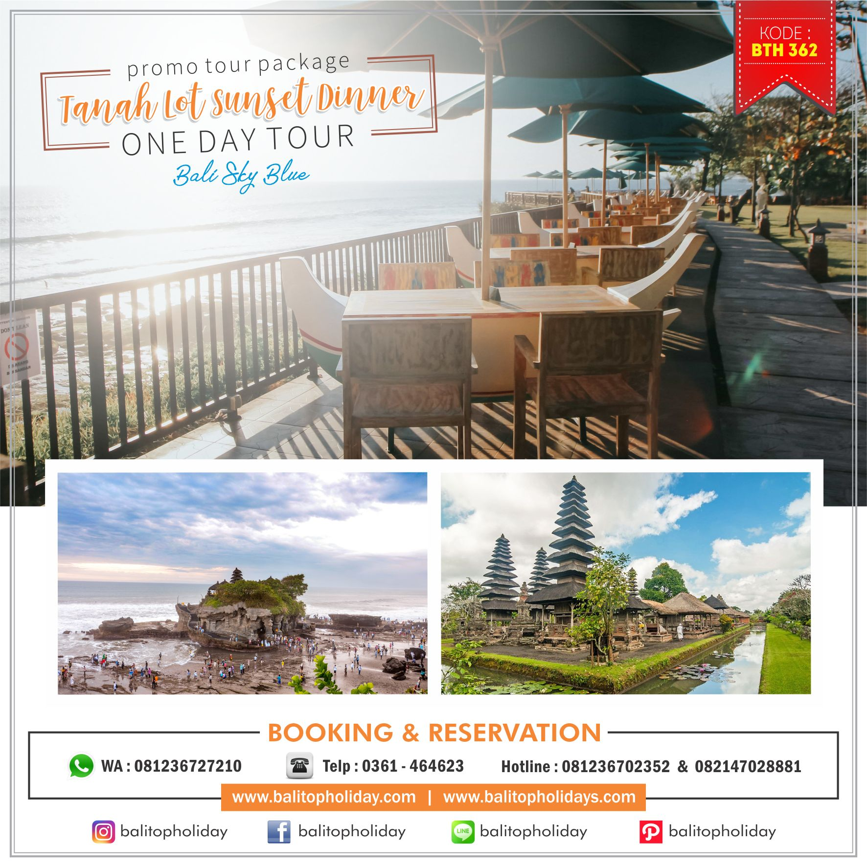 Tanah Lot Sunset Dinner One Day Tour BTH 362