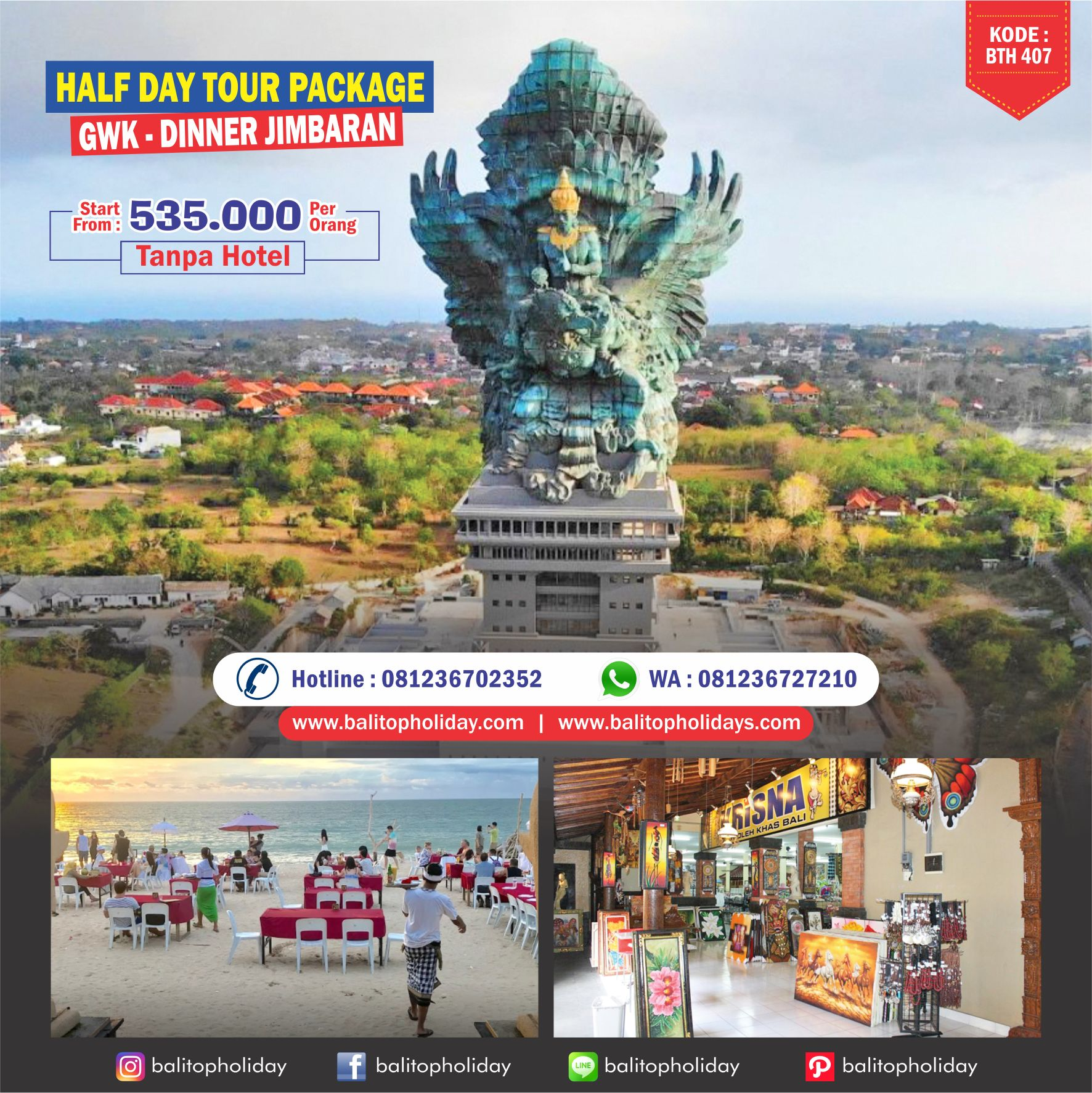 Paket Halfday Tour GWK – Dinner Jimbaran